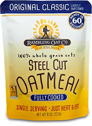 - Rambling Oat Company Fully Cooked Steel Cut Oatmeal (8 Pouches) - Just Heat and Eat - Quick Instant Breakfast Packets (Original Classic)