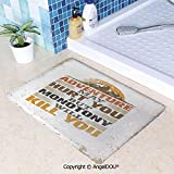 SCOXIXI Living Room Bedroom Carpet Thicken Non-Slip Mat Adventure Versus Monotony Quote with Sun and Mountains Movement Suggesting Image Decorative for Home Hotel Cafe Restaurant W31.5xL47.2(inch)