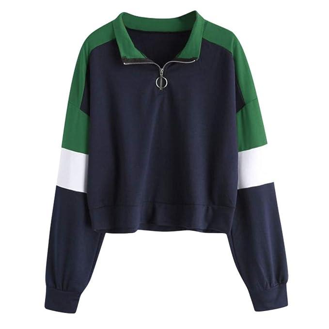 TIFIY Damen Sweatshirt 2019 Damen Solide Langarm Splice