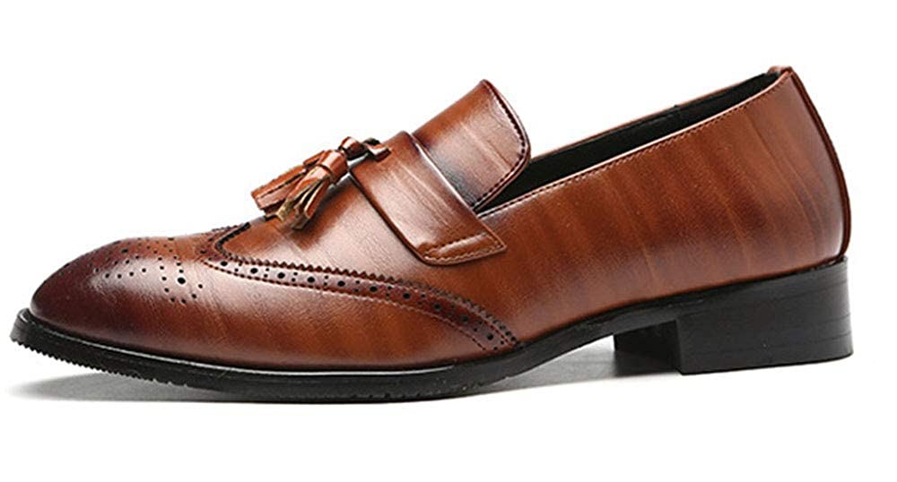 MST Men Party Dress Loafer Shoes Wingtip Fashion Casual Wingtip Shoes Perforated Slip-on Tassel Wedding Shoes 8 M US Brown B07G9BGGKY 1e13c8