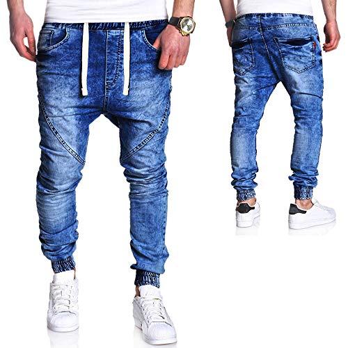 Bleu Mode Homme Slim Pantalon Holywin Délavé En Jean Délavage Vintage Décontractée Élastique PHqUwdSx