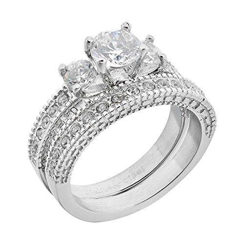 FlameReflection Wedding Ring Set Round Shape Cubic Zirconia Stainless Steel Women 3 Stones Size 5-10 SPJ