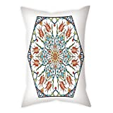 iPrint Microfiber Throw Pillow Cushion Cover,Antique,Ottoman Turkish Floral Pattern Tulips Medieval Baroque Effect on Dated Islamic Art,Multicolor,Decorative Square Accent Pillow Case