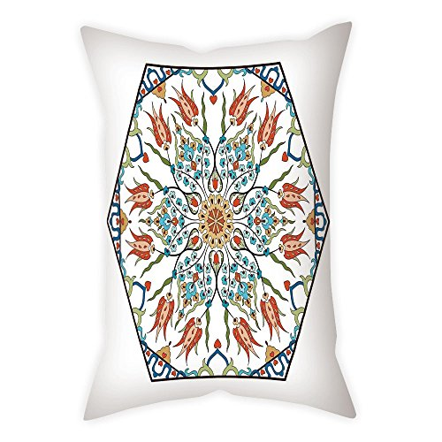 iPrint Microfiber Throw Pillow Cushion Cover,Antique,Ottoman Turkish Floral Pattern Tulips Medieval Baroque Effect on Dated Islamic Art,Multicolor,Decorative Square Accent Pillow Case by iPrint