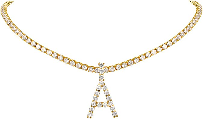 Tennis Chain with Initial Necklace Pendant Iced Out Choker Micro Pave Cubic Zircon Letters Jewelry for Women Birthday Day Gift  for Her