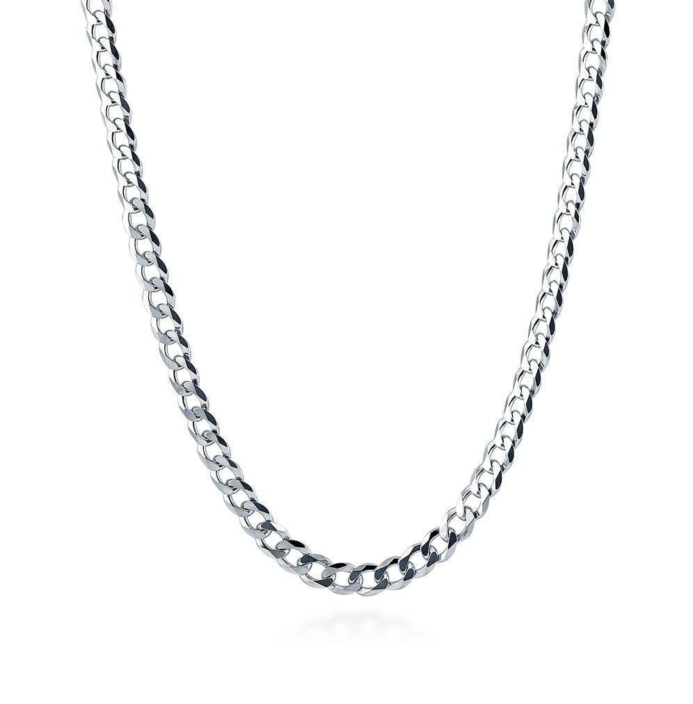Designer Inspired 2mm Silver Curb Chain Necklace Sterling 925 16'' 18'' 20'' 22'' 24'' 26'' 28'' 30'' (22)