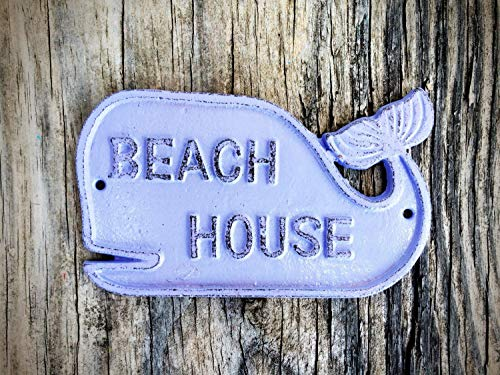 (Purple Beach House Cute Whale Wall Sign – Front Porch Coastal Nautical Décor – Surf Themed Play Room and Nursery Art)