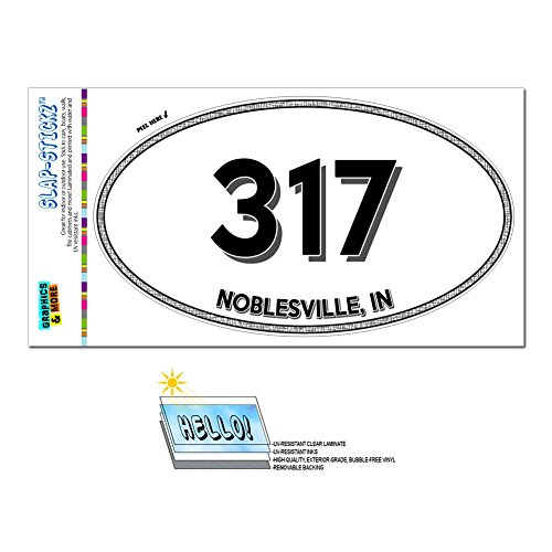Area Code Euro Oval Window Laminated Sticker 317 Indiana IN Amo - Zionsville - Noblesville