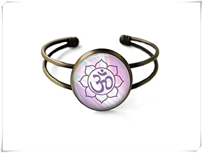Amazon no see long time mystic om lotus flower cuff bracelet no see long time mystic om lotus flower cuff braceletpastel om bracelet lotus mightylinksfo