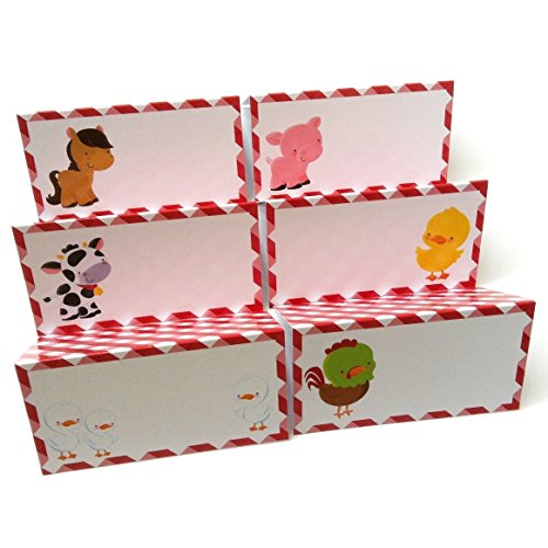 Farm Animals Place Tent Cards - Boy Girl Birthday Baby Shower Party Supplies - Set of 12