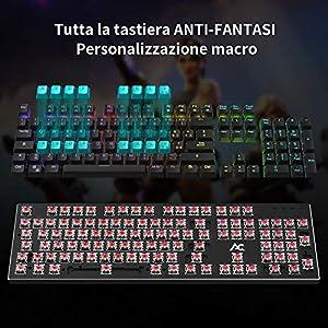 Scrittori Ufficio ACGAM Italiano Tastiera Meccanica Gaming con 105 Tasti Opto-Meccanici Switches RED RGB Backlit Tasti Anti-Ghosting Impermeabile per Funzioni Multimediali,Giocatori