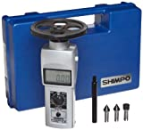 Shimpo DT-105A-S12 Handheld Tachometer with 12'' Wheel, LCD Display, 0.10 - 25000rpm Range
