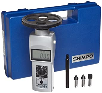 """Shimpo DT-105A-S12 Handheld Tachometer with 12"""" Wheel, LCD Display, 0.10 - 25000rpm Range"""