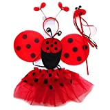 4 Different Themes Toddler Girl's Dress-Up or Costume Wing & Tutu Sets … (Red Ladybug Set)