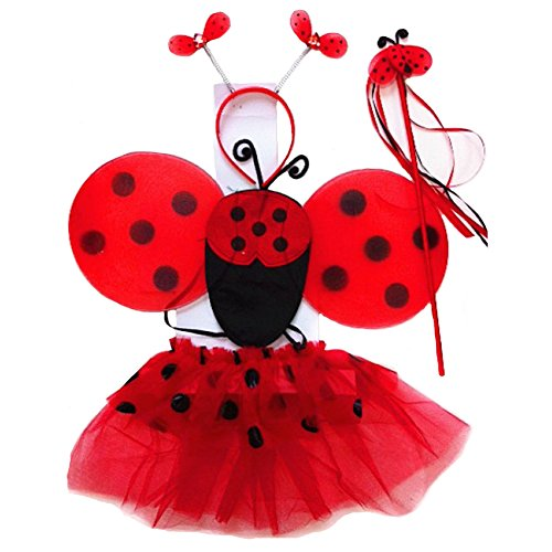 Ladybug Tutu Set (4 Pc Lady Bug Costume Set Wand, Wings, Tutu and Antennas)