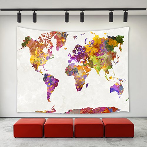 (LBKT Watercolor World Map Tapestry Wall Hanging Vintage Colorful Abstract Art Splatter Painting Watercolor World Map Wall Art Home Decoration Wall Tapestries for Bedroom Living Room Dorm Decor 90