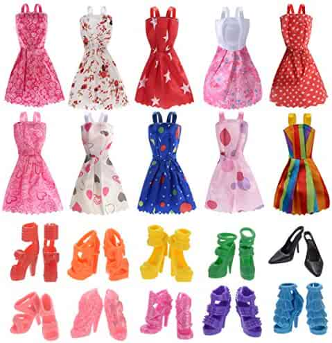 10 Pack Barbie Doll Clothes Party Gown Outfits with 10 Pairs Doll Shoes for Girl's Birthday Christmas Gift