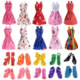 Clothes for Doll, 10 Pieces Party Gown Outfits with 10 Pairs Doll Shoes, Girl's Birthday Present (A)