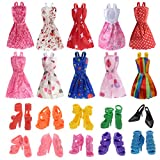 #1: 10 Pack Barbie Doll Clothes Party Gown Outfits with 10 Pairs Doll Shoes for Girl's Birthday Christmas Gift