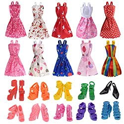 10 Pack Barbie Doll Clothes Party Gown Outfits with 10...