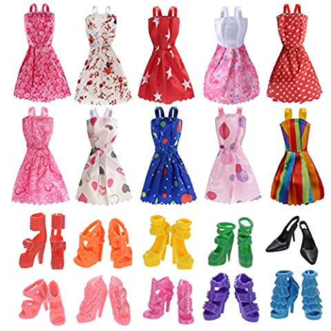 10 Pack Barbie Doll Clothes Party Gown Outfits with 10 Pairs Doll Shoes for Girl's Birthday Christmas (Y Clothes)