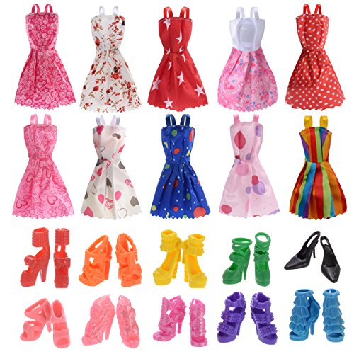 10 Pack Barbie Doll Clothes Party Gown Outfits with 10 Pairs