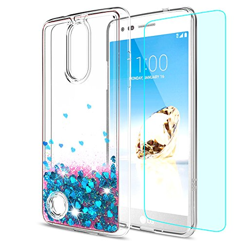 LG Aristo Case,LG Risio 2 Case,LG Phoenix 3 Case,LG Fortune / Rebel 2 LTE / K8 2017 Case with HD Screen Protector for LeYi Liquid Glitter Sparkle Cute Girls Women Clear TPU Case for LG LV3 ZX Blue