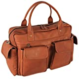 Latico Leathers Corolla Carry On Bag, Natural, Easy Entry Travel Bag for All Occasions, Adjustable Duffel
