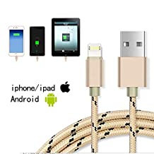 2-1Multifunction Lightning USB Cable,Jiaoly Braided Nylon Rope Data Cable Support for Apple and Android Systems Double Side can Charge and Fast Data Transfer (Gold)
