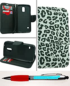 Accessory Factory(TM) Bundle (the item, 2in1 Stylus Point Pen) Samsung Galaxy S 5 Wallet Pouch Black White Leopard