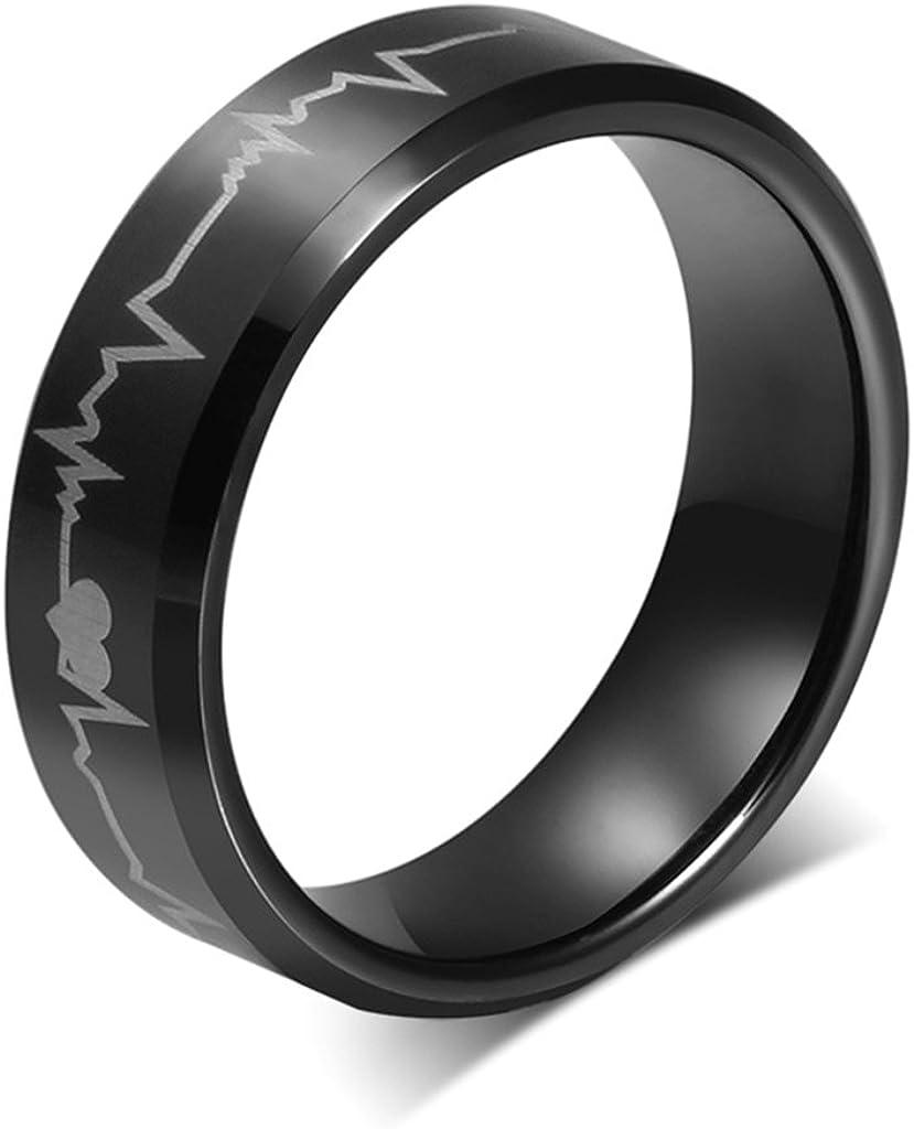 Bishilin 8MM Black Tungsten Carbide Laser Heart Beat Life Engagement Wedding Band