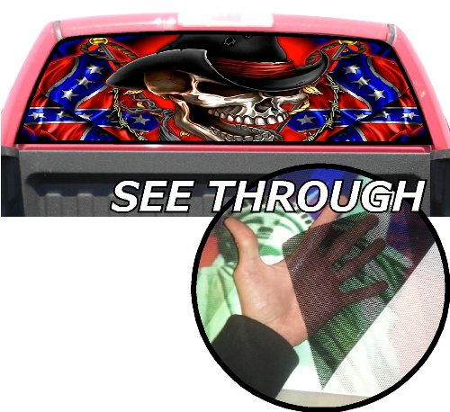 P171 American Flag Skull Tint Rear Window Decal Wrap Graphic Perforated See Through Universal Size 65