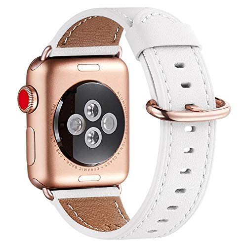 WFEAGL Compatible iWatch Band 40mm 38mm, Top Grain Leather Band with Gold Adapter (The Same as Series 4/3 with Gold Aluminum Case in Color) for iWatch Series 4/3/2/1 (White Band+Rosegold Adapter)]()