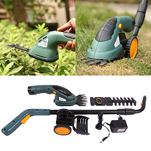 3.6V 2 In 1 Electric Cordless Grass Shear Hedge Trimmer Power Tool (Type : Lawn mower with wheels) by Joyously