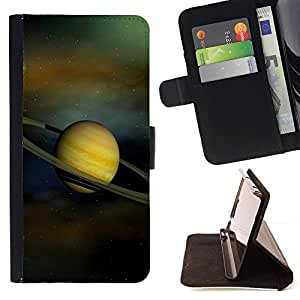 For Apple Iphone 4 / 4S Saturn Rings Solar System Planet Cosmos Style PU Leather Case Wallet Flip Stand Flap Closure Cover