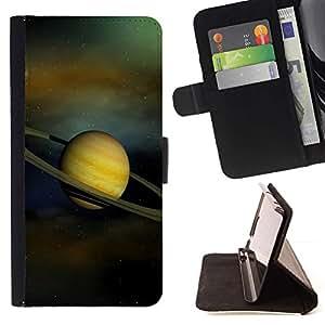 Momo Phone Case / Flip Funda de Cuero Case Cover - Anillos de Saturno Sistema Solar Planet Cosmos - Sony Xperia Z5 5.2 Inch (Not for Z5 Premium 5.5 Inch)