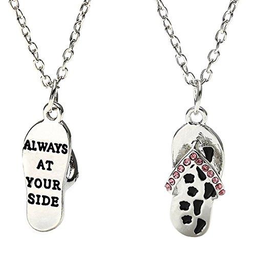 Aukmla Always at Your Side Paw Print Flip Flop Beach Shoes Sandal Pendant Necklace ()