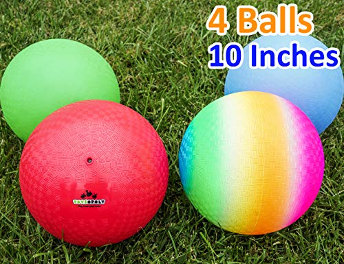 Playground Balls 10 inch Dodgeball (Set of 4) Kickball for Boys Girls Kids Adults - Official Size Bouncy Dodge Ball, Handball, Four Square Picnic School + Free Pump -