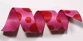 "product image for 100% Biodegradable Natural Ribbon | Prints & Stripes | Ribbon for Crafts | Cotton Curling Ribbon | Holiday Ribbon | Wrapping Ribbon | Eco-Friendly Ribbon (Red Dots Bubblegum, 1/2"" x 100 Yards)"