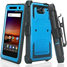 ZTE Majesty Pro Hard Case, ZTE Tempo Case SOGA [TriGuard] Shockproof Rugged Hybrid Armor Case Cover with Belt Clip Holster & Built-in Screen Protector for ZTE Majesty Pro Z799VL - Blue