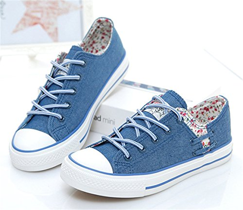 de Deportiva Zapatos Zapatilla Mujer Classic Casual Oscuro Lona Azul Cn6FwqH5