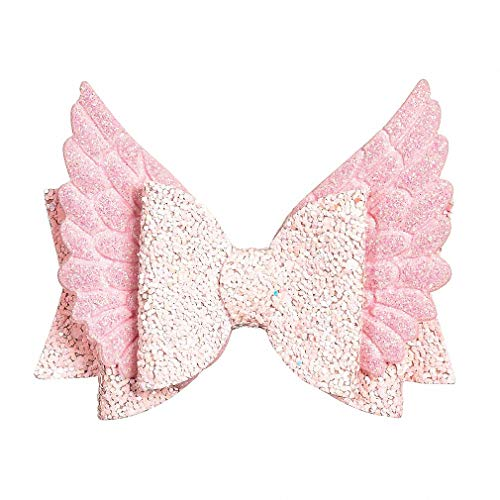 Pudwy Angel Wing Princess Hairgrips Glitter Hair Bows with Clip Dance Party Bow Hair Clip Girls Hair Accessories Pink