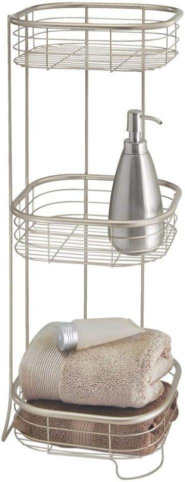 mDesign Estantería de baño – Mueble esquinero para la ducha de metal resistente con 3 baldas – Estante de baño para lociones, toallas de mano, jabón, ...
