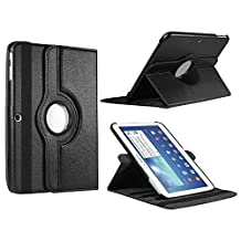 Samsung Galaxy Tab 4 10.1 CASE, Kingsource PU Leather Case for Samsung Galaxy Tab 4 10.1 (SM-T530NU) PU Leather 360 Rotating Stand Cover Auto Sleep/Wake Feature Color Black