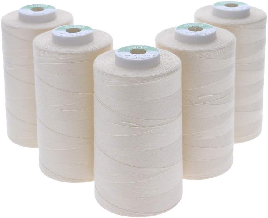 Sewfil dacor 120-5 conos de hilo de coser de poliéster - Pack de 5 bobinas (5 x 5.000 metros) 0608 - Beige