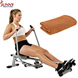 Sunny Health and Fitness Full Motion Rowing Machine Rower with 350lb Capacity and LCD Monitor (SF-RW5639) with Workout Cooling Towel
