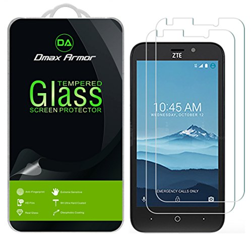 [2-Pack] Dmax Armor for ZTE AVID Trio (T-Mobile) Screen Protector, [Tempered Glass] 0.3mm 9H Hardness, Anti-Scratch, Anti-Fingerprint, Bubble Free, Ultra-Clear