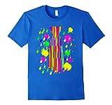 Mens Multi-color Neon Tie Paint Splatter Tshirt Raves 80's Party XL Royal Blue