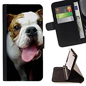 Momo Phone Case / Flip Funda de Cuero Case Cover - Bulldog Terrier Hocico Lengua Negro; - Samsung Galaxy A5 ( A5000 ) 2014 Version