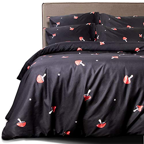 NTBAY 3 Pieces Duvet Cover Set, Brushed Microfiber, Red Mushroom Patterns Printed, Bedding, Black and Red Mushroom, Queen
